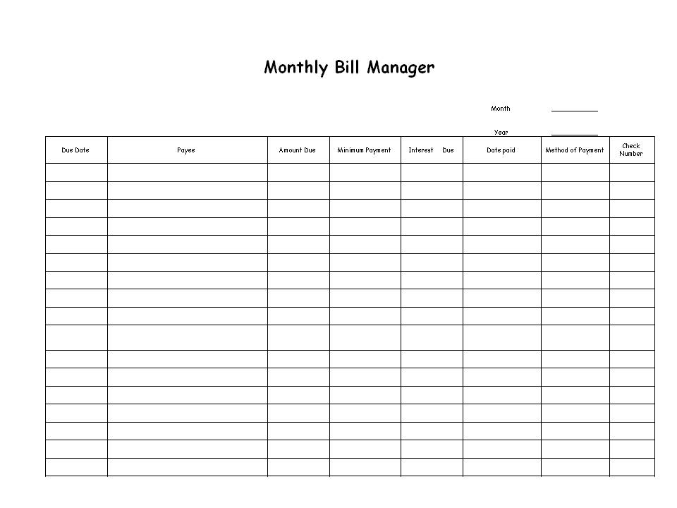 Monthly Bill Planner Free Printable Monthly Bill Organizer Free